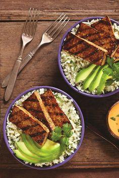 Balsamic Grilled Tofu with Cilantro Cauliflower Rice and Sriracha Mayo (Dairy-Free, Gluten-Free, Vegan Recipe)