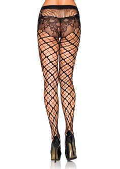Seamless Trellis Net Pantyhose Seamless net Pantyhose with a trellis style pattern. Attached patterned lace panty with unique rear view. Pantyhose that actually look pretty with or without clothing. Leg Avenue is available in Black only. Nylons, Black Fishnets, Black Tights, Bas Sexy, Fishnet Stockings, Leg Avenue, Tight Leggings, Lace Leggings, Swagg