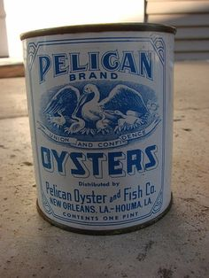 Pelican Brand Pint Oyster Tin Can New Orleans