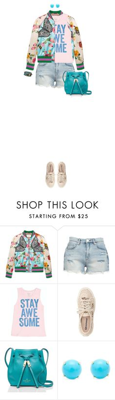"""""""Quote Tee"""" by ittie-kittie on Polyvore featuring Gucci, BLANKNYC, Billabong, Superga, Kate Spade, Irene Neuwirth, Chan Luu and quotetee"""