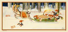 Stor bonad - Paket-leverans och grisjakt, 1940tals-motiv - Steinssons bokmärken Postcards, Christmas Cards, Scrap, Illustration, Painting, Art, Christmas E Cards, Art Background, Xmas Cards