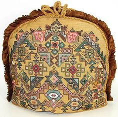 Fab Antique Victorian Beadwork Needlepoint Tea Cosy, Cozy - For sale on Ruby Lane