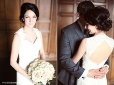A beautiful bride and her stunning vintage bouquet by @Academy Florist- and a gorgeous lace dress! #wedding #bouquet