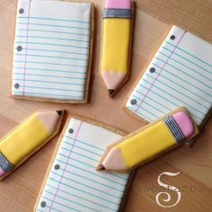 "Who's ready to go back to school?  Watch the full video on how make paper and pencil cookies with royal icing and edible ink markers at YouTube.com/SweetAmbsCookies! Music: ""Jump For Joy"" courtesy of AudioNetwork.com #sweetambscookies #backtoschool #cookieart"