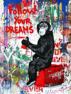 Oil Painting Pictures, Pictures To Paint, Banksy, Illustration Singe, Mr Brainwash Art, Canvas Frame, Canvas Wall Art, Pop Art, Monkey Wallpaper