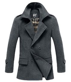Winter Men's Fashion: The Foster Wool Peacoat Grey!