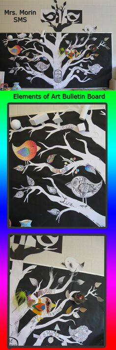 Bird and tree themed Elements of Art Board.  As we learn a concept, add that vocab term as a leaf on that branch