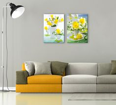 Spring fresh yellow daffodils just make you want to smile. This bright colored photography is printed on high quality canvas. Artwork is gallery wrapped over wooden bars and is ready for hanging. Each picture is 16×24 inches.