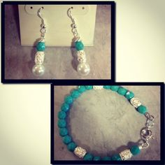 Turquoise faceted bead and silver accent bracelet with matching earrings.