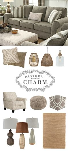 Pastoral Charm™ - Baveria Sofa - Casual and Easygoing Style - Furniture and Accessories - Neutrals - Naturals - Soft Textures and Patterns - Ashley Furniture in the ATRIUM, Dartmouth, NS Porch Furniture, Furniture Legs, Furniture Sale, Furniture Websites, Grey Family Rooms, Ashley Furniture Industries, Ashley Home, Inexpensive Furniture, Lounge