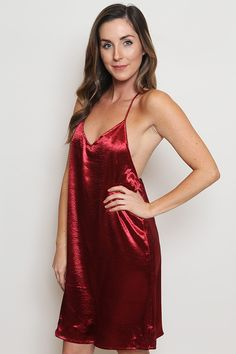 V neck red satin spaghetti strap slip dress featuring a t-string low back. Satin Slip, Red Satin, Silk Satin, Honeymoon Outfits, Honeymoon Clothes, Themed Outfits, Lingerie, Stylish Tops, Weekend Style