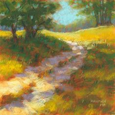 """""""Ranch Road #20"""" (pastel, 8x8 inches)  click here to bid: http://www.dailypaintworks.com/buy/auction/583948  This is my favorite landscape scene to paint. It's from a photo I took years ago at some park somewhere, and it's frequently one of my workshop demos because it's got elements that are easy to push and pull into any dimension. I can't even remember how many times I've painted this scene, but you can see a few of them and the reference photo on my blog…"""