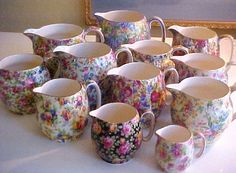 Chintz China from Jane FehrenbacherL Look at all the pretty little pitchers.