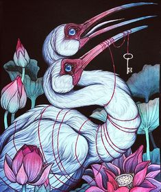 Instagram media by caitlin_hackett - Keeping secrets, some sacred and unspoken word. I created this two headed white ibis as a gift, but I have prints of it available at www.society6.com/caitlinhackettart (link in my profile)