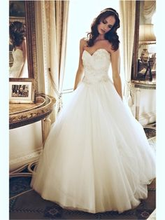 White Ball Sweetheart Lace Tulle 2013 Wedding Dresses A