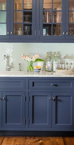 Adding color with blue kitchen cabinets | carly blogs