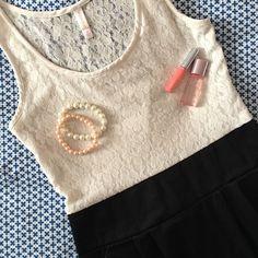 Xhilaration Ivory lace top dress GUC, ivory lace bust with black bottom mini dress. Pockets! Xhilaration Dresses
