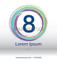 "cool color circle brush stroke ""8"" number logo"