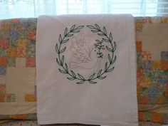 Christmas Dove and Holly Flour Sack Dish by SugarHillEnterprises