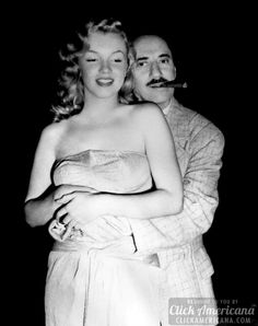 American actress Marilyn Monroe - smiles while American comedian Groucho Marx - embraces her from behind on the set of the film Love Happy, which was directed by Leo McCarey and David Miller. Monroe has shoulder-length hair and wears a strapless dress. Joven Marilyn Monroe, Fotos Marilyn Monroe, Young Marilyn Monroe, Marylin Monroe, Groucho Marx, Rita Hayworth, Classic Hollywood, Old Hollywood, Hollywood Glamour