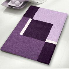 contemporary bath rugs for your bathroom available in grey, red, blue, purple and brown. Bathroom Rugs, Bath Rugs, Denim Bag Patterns, Rya Rug, Rug Hooking Designs, Black And Grey Rugs, Crochet Mat, Pattern Blocks, Handmade Rugs