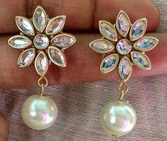 By honey... Silk Thread Earrings Designs, Silk Thread Bangles Design, Silk Thread Necklace, Silk Bangles, Thread Jewellery, Beaded Earrings, Earrings Handmade, Handmade Jewelry, Stone Earrings