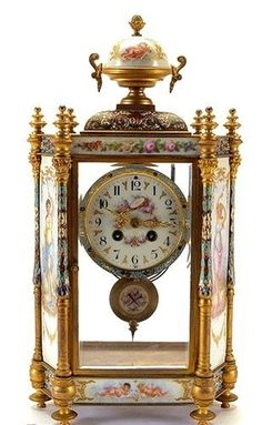 19TH CENTURY SEVRES AND CHAMPLEVE ENAMEL CLOCK