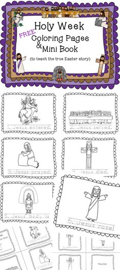 FREE Coloring Pages and Mini Book FREE Holy Week FREE Teach the True Story of Easter FREE