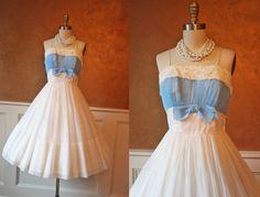 1950s Dress - Vintage 50s Dress - White Chiffon Goddess Cocktail Party Dress S - Something Blue on Etsy, $304.55 CAD