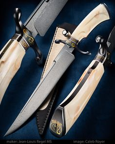 """""""Trinity"""" by Jean-Louis Regel MS • Best Bowie Award at Blade Show 2017 Type: Take down bowie Blade steel: Stainless wootz Handle: Warthog ivory carving Pommel: Iron steel: gold 24k inlay Guard: Black coating • website: jeanlouis-knives.com • #calebroyerphotography #knife #knifemaking #knives #customknives #handmadeknives #knifecommunity #handmade #knifeart #knifepics #imagecalebroyer #steel #edge #sharp #cutlery"""