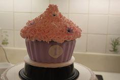 1st Birthday giant cupcake cake - cherry chip with vanilla buttercream.  Yum!