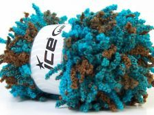 Lot of 3 x 100gr Skeins ICE OH LA LA Ruffle Scarf Yarn Turquoise Brown