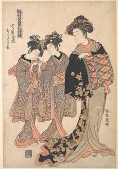 The Oiran Nishikigi of Yotsumeya with Her Kamuro  Isoda Koryûsai  (Japanese, 1735–1790)  Period: Edo period (1615–1868) Date: ca. 1776 Culture: Japan Medium: Polychrome woodblock print; ink and color on paper