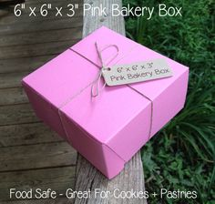 """HALF CASE • 50 Each • 6"""" x 6"""" x 3"""" Pink Bakery Box - Pastry Box •  Food Safe • Weddings • Cookie Box • Pastry Box • Deli Box • Take Out by TheBakersBin on Etsy"""