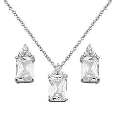 ".925 Sterling Silver CZ Emerald Cut Earrings and Matching Pendant-Necklace Set with 1.2mm Cable Rolo Chain - 16""+2"" Inches Extension The World Jewelry Center. $29.95. From our exclusive Shimmering Collection, this item showcases the finest Stainless Steel designs available today!. Promptly Packaged with Free Gift Box and Gift Bag. Special manufacturing process held to ensure less wear, tarnish, and rust.. Save 54%!"