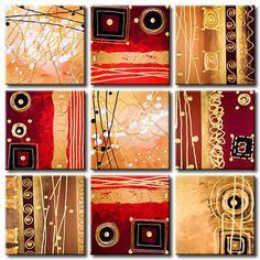 ORIGINAL Acrylic Abstract Painting Palette Knife Impasto Textured Modern Red Brown Gold Ornaments 9 pieces on Stretched Canvas Inspiration Artistique, Mini Canvas Art, Ecole Art, Africa Art, Small Art, Texture Art, Abstract Canvas, Art Forms, Painting Inspiration