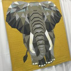 Meet The Elephant! This is the lovely and talented @violetcraft newest animal quilt. Pattern coming this Spring. See it in the @michaelmillerfabrics booth! #quiltcon #jungleabstractions #elephantabstractions