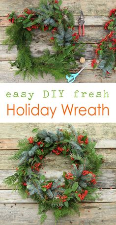 Easy DIY Christmas Wreath Ideas – Learn How to Make a Christmas Wreath Christmas Wreaths To Make, Christmas Table Decorations, Holiday Wreaths, Christmas Crafts, Christmas Ideas, Merry Christmas, Natural Christmas, Beautiful Christmas, Diy Wreath