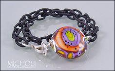 Marbella Sunset  Lampwork Bracelet in orange by MichouJewelry, $53.00