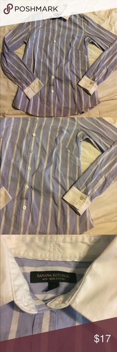 Banana Republic Button Up Non-Iron Fitted 4 Cute Button Up Blouse by Banana Republic. Size 4. Excellent condition. Fitted. Baby blue and white with white collar and cuffs. Chest is 18 inches flat. Sleeves are 23.5 inches length is 25 inches from top of shoulder to bottom of shirt. Banana Republic Tops Button Down Shirts