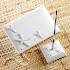 Starfish Guest Book and Pen Set  just right for your beach or beach-themed wedding. #Weddings #WeddingGuestBook