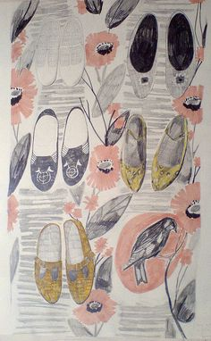 flowers and shoes, illustration, sketchbook, drawing, flats, bird, floral, pattern, sketch, colour, pencil