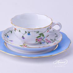 Tea Cup and Dessert Plate - 2 pieces - Herend Imola Colored decor. Herend porcelain tableware. Hand painted