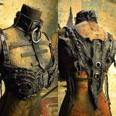 The Diviner Stagewear Post Apocalyptic Wasterland Gothic Deathrock Witch Horror Punk Biker Bra Bodice Halter Ajustable Top removable Collar