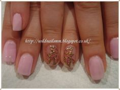Wild Rose's Nails: Lovely Pink Nails With Gold Ornament