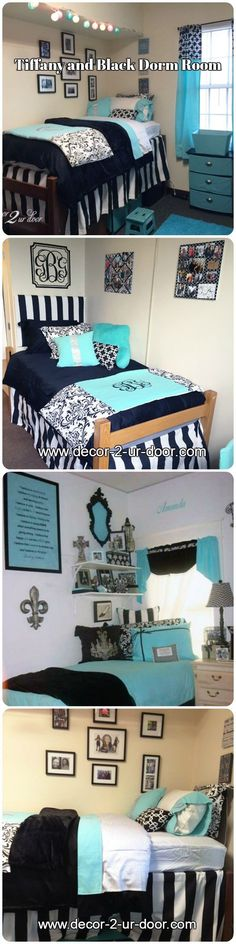 Tiffany and Black Dorm Rooms from Decor 2 Ur Door. Design your dream room today!