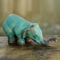 Turquoise Elephant Sawasdee from @NOVICA, They help #artisans succeed worldwide.