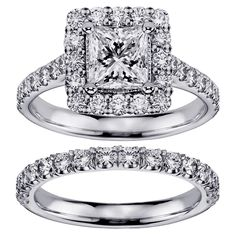 White Gold 2 4/5ct TDW Princess-cut Diamond Square Halo Bridal Ring Set (G-H, SI1-SI2) (14k Gold - Size 5), Women's (solid)