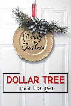 Make this Christmas door hanger with Dollar Tree supplies. An easy to make Christmas wreath for your front porch. Full video tutorial. #christmas #diyhomedecor #dollartree #wreath #craft