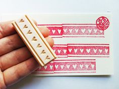 washi tape rubber stamp. love hearts. hand carved by talktothesun, $10.00